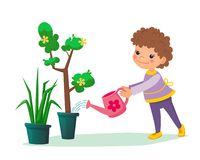 Free Little Child Holding A Water Can In His Hands And Watering Tree With Flowers In The Pot. Boy Or Girl Taking Care About Stock Photos - 162942033