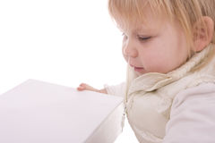 Little child holding blank box Stock Photo