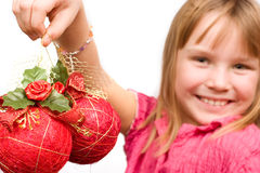 Little child holding christmas decoration Stock Photography