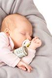Little child holding polish money Royalty Free Stock Photo