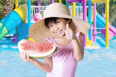 Little child holding a slice of watermelon Stock Images