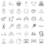 Little child icons set, outline style Royalty Free Stock Photography