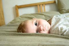 Little child with intent look. Lying on the bed royalty free stock photo