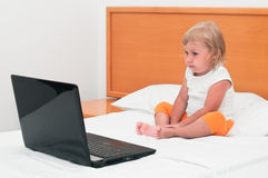Little child a laptop Royalty Free Stock Photos