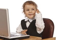 Little child and laptop. Royalty Free Stock Image