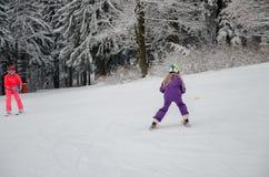 Little child learning to ski Stock Image
