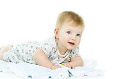 Little child lies on the diaper Stock Photo