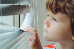 Little child looking out the window through the blinds. Backgrou Stock Photography