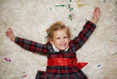 Little child lying on carpet Royalty Free Stock Photo