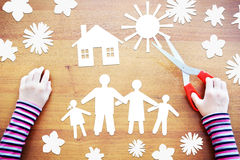 Little child makes composition about happy family. Abstract imag Royalty Free Stock Image