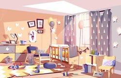 Messy child bedroom sunny interior cartoon vector royalty free illustration