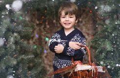 A little child by the New Year tree. Children decorate the Chris. Tmas tree Stock Photos