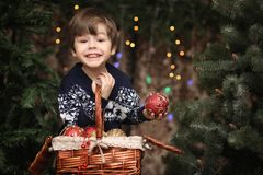 A little child by the New Year tree. Children decorate the Chris. Tmas tree. Baby in a sweater by a green tree in studio.r Royalty Free Stock Photo