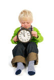 Little child with old clock Stock Photography