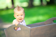 Little child in old wagon trolley Royalty Free Stock Photos