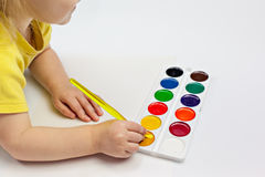 Little child painting Royalty Free Stock Photo
