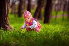 Little child picking flowers on street royalty free stock images