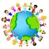 Little child on planet earth. Vector illustration Stock Image