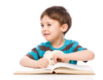 Little child play with book Royalty Free Stock Image