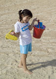 Little child play with sand Stock Photos