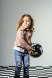 Little child playing with ball royalty free stock photo