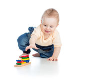 Little child playing with building blocks Royalty Free Stock Images