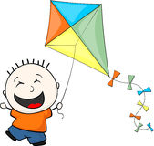 Little child playing kite Royalty Free Stock Photography