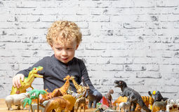 A little child plays with toys animals Stock Photos
