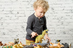 A little child plays with toys animals Royalty Free Stock Photos