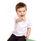 Little child pointing with his finger on you Stock Images