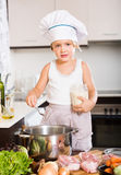 Little child prepared food Royalty Free Stock Image