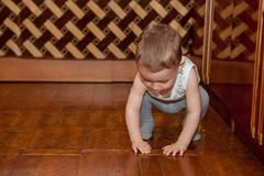Little child put parquet. A two-year-old child in the job Stock Photos