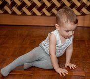 Little child put parquet. A two-year-old child in the job Royalty Free Stock Photos
