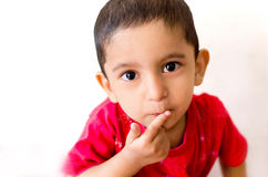 Little child putting finger on mouth with small hairs Royalty Free Stock Images