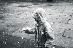 Little child in raincoat plays with raindrops, monochrome Royalty Free Stock Images