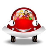 Little child in red car Royalty Free Stock Photography