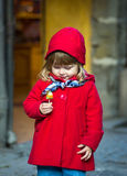 Little child in red coat Stock Photography