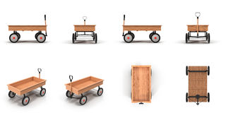 Little Child's Toy Wagon  on white 3D Illustration Stock Images