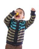 Little Child Singing Loudly. Isolated on White Background Royalty Free Stock Photo