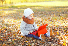 Little child sitting using tablet pc in autumn Stock Image