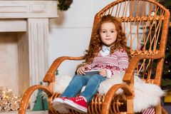 Little child with smartphone royalty free stock images