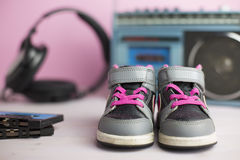 Little child sneakers shoes Royalty Free Stock Photo
