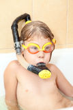 Little child with snorkel and mask Stock Images