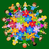 Little child stand round floral planet Royalty Free Stock Photo