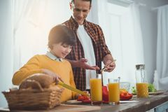 Dad and boy following cooking instruction. Little child standing at the desk and slicing ingredients for salad. Father showing him on cellphone royalty free stock photo