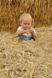 Little child in straw. Little child siting and playing in straw Royalty Free Stock Images