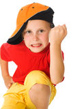 Little child threatens with a fist Royalty Free Stock Photo