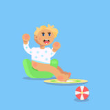 Little child, todler, baby character sitting on the champerpot a Royalty Free Stock Photography
