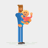 Little child, todler, baby character sitting on the toy Royalty Free Stock Image