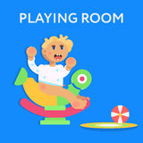 Little child, todler, baby character sitting on the toy Stock Photos